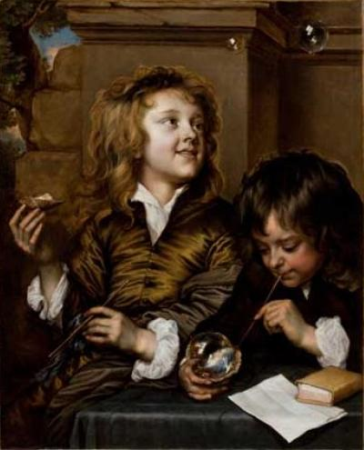 Adriaen hanneman two boys blowing bubbles