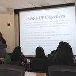 MSRI-UP 2016 on-site director Dr. Suzanne Weekes welcomes incoming students